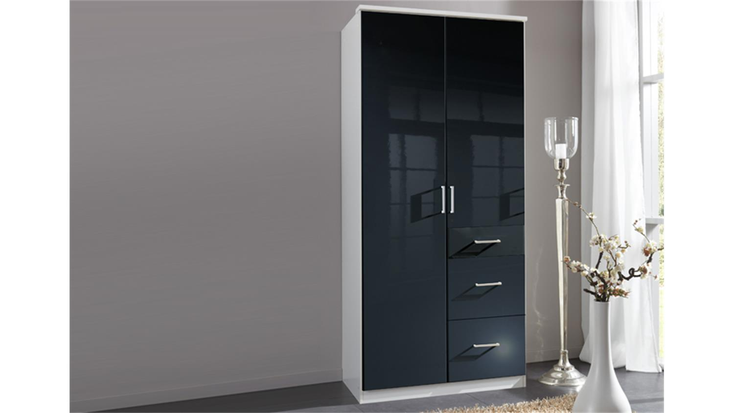 kleiderschrank clack in hochglanz schwarz alpinwei 90 cm. Black Bedroom Furniture Sets. Home Design Ideas