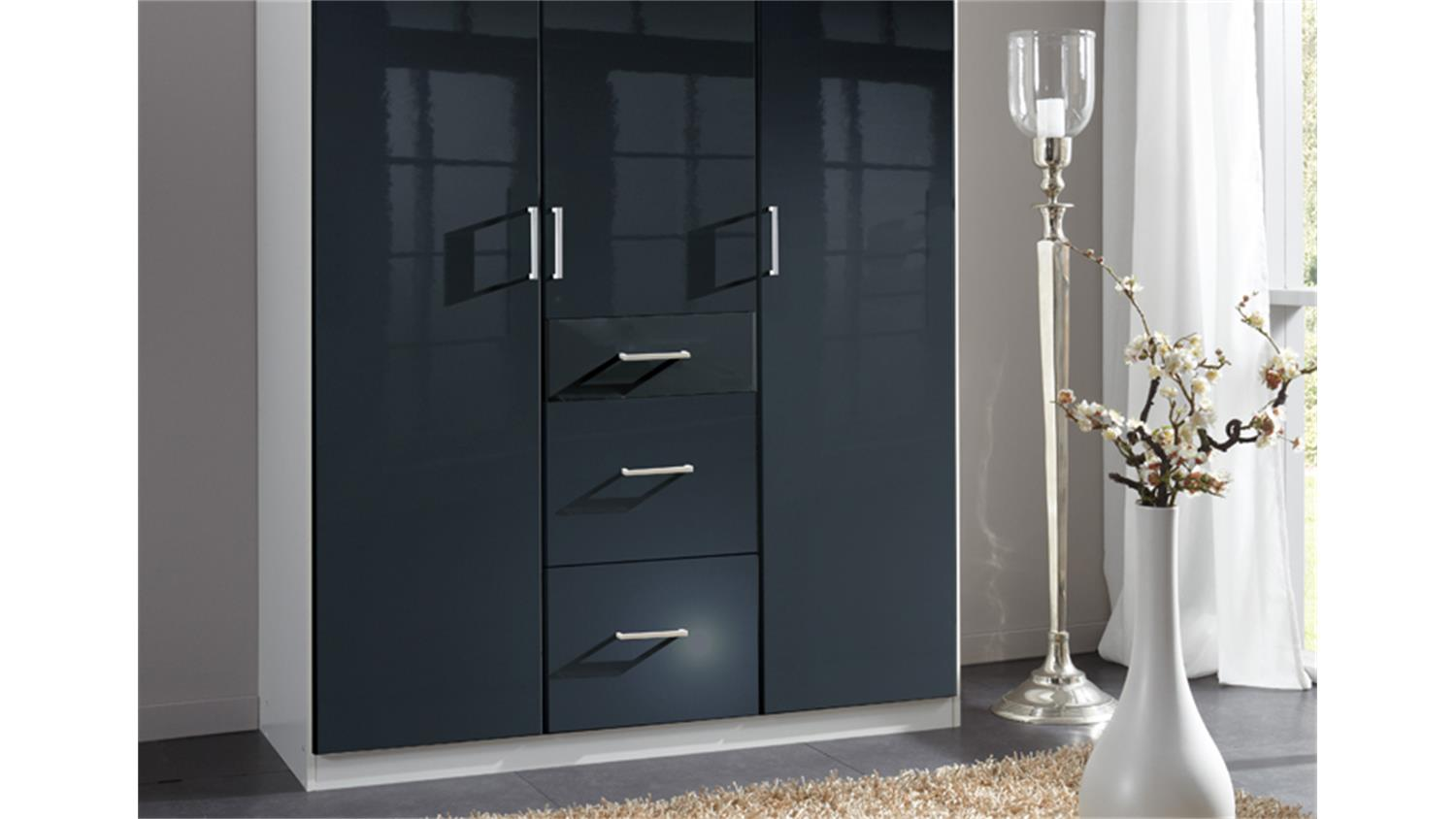 kleiderschrank clack in hochglanz schwarz alpinwei 135 cm. Black Bedroom Furniture Sets. Home Design Ideas