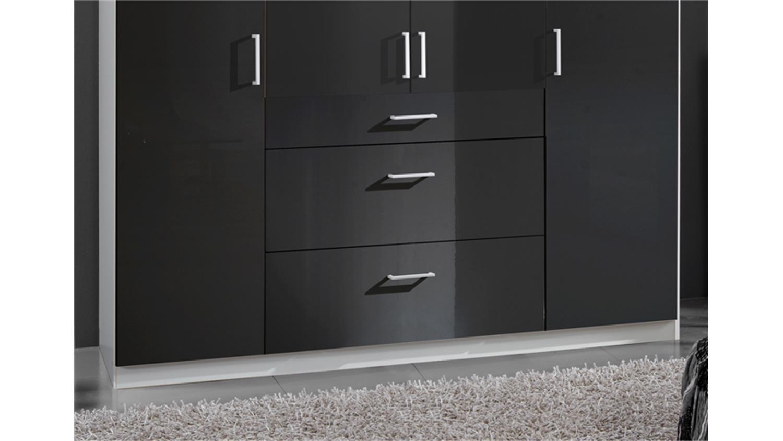 kleiderschrank clack in hochglanz schwarz alpinwei 180 cm. Black Bedroom Furniture Sets. Home Design Ideas