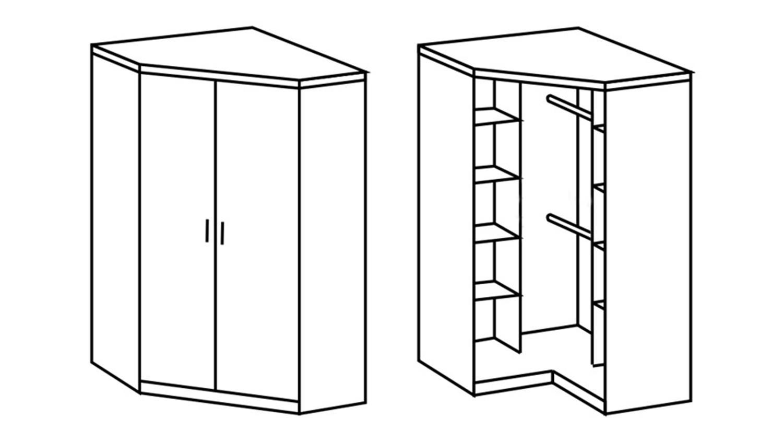 eckschrank clack in hochglanz schwarz alpinwei. Black Bedroom Furniture Sets. Home Design Ideas