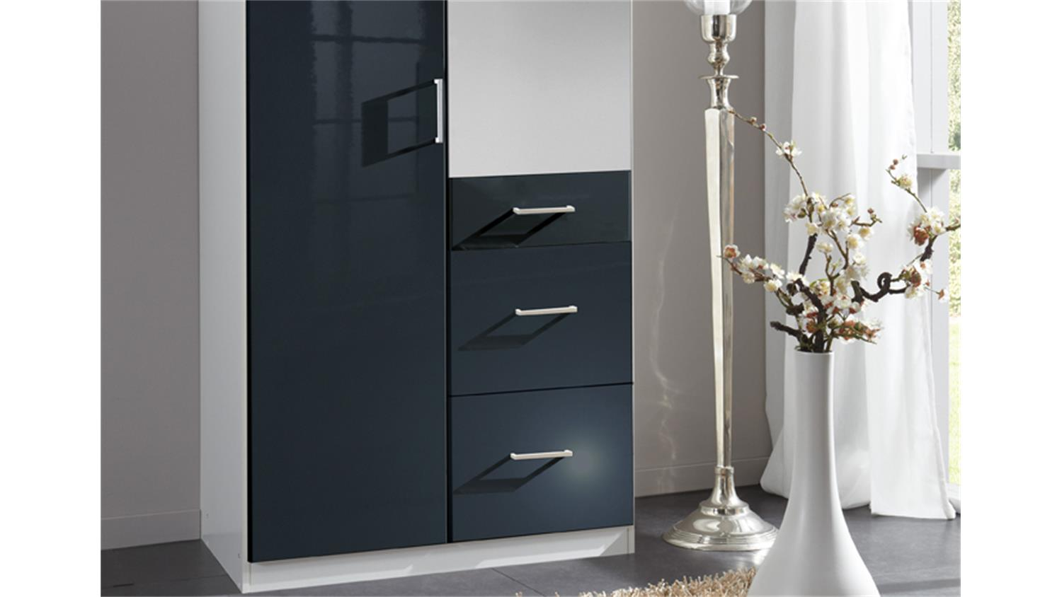 kleiderschrank clack 2 t rig hochglanz schwarz spiegel. Black Bedroom Furniture Sets. Home Design Ideas