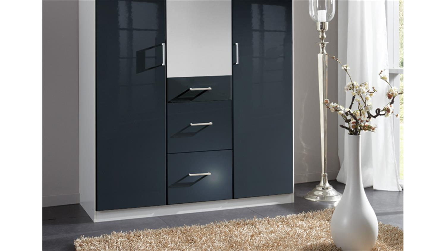 kleiderschrank clack front hochglanz schwarz spiegel 135 cm. Black Bedroom Furniture Sets. Home Design Ideas