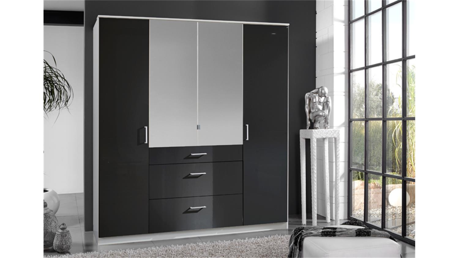 kleiderschrank clack front hochglanz schwarz spiegel 180 cm. Black Bedroom Furniture Sets. Home Design Ideas