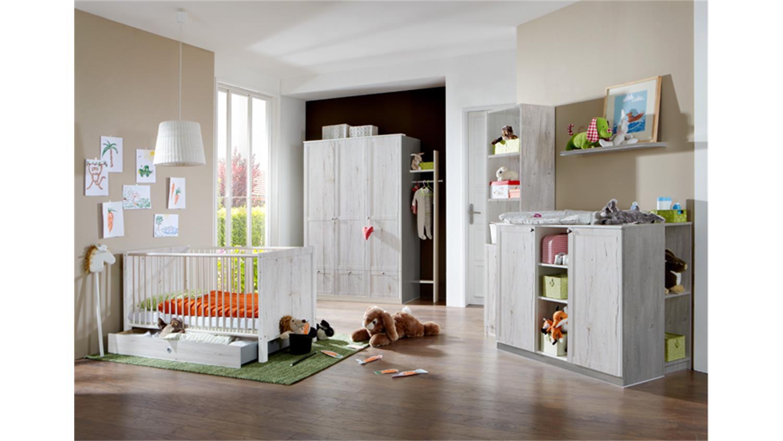 babybett filou kinderbett mit bettkasten in wei eiche 70x140cm. Black Bedroom Furniture Sets. Home Design Ideas