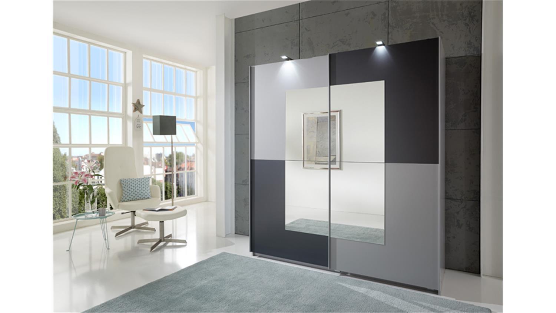 kleiderschrank taifun 2 t rig anthrazit alu dekor spiegel. Black Bedroom Furniture Sets. Home Design Ideas