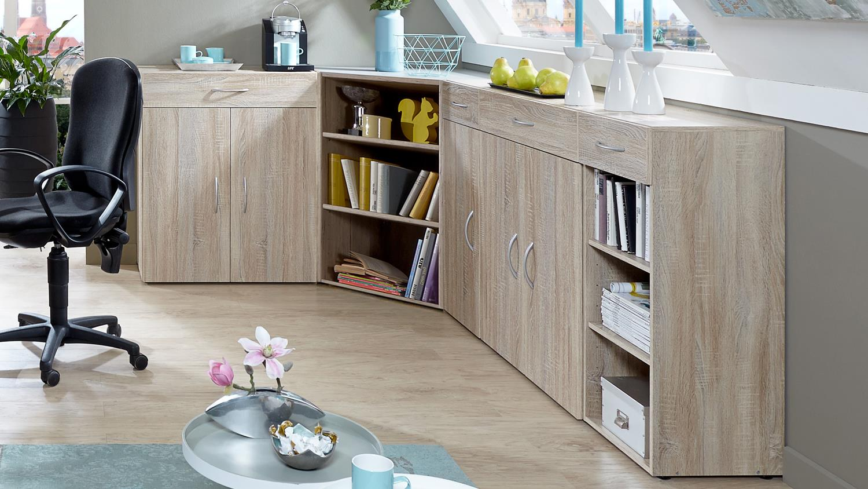 eckschrank multi room regalsystem in eiche s gerau. Black Bedroom Furniture Sets. Home Design Ideas