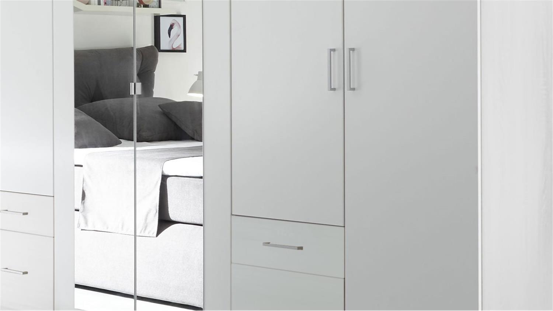 Kleiderschrank FREIBURG in weiß 6-türig mit Spiegel B 270 cm