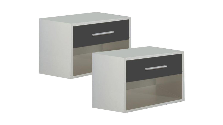 2er set nachttisch ilona nachtschr nke in alpinwei und anthrazit. Black Bedroom Furniture Sets. Home Design Ideas