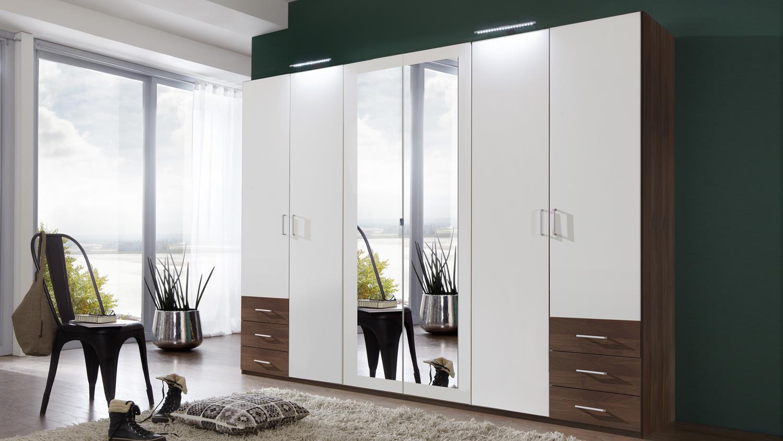 kleiderschrank f gen in alpinwei und nussbaum 270 cm. Black Bedroom Furniture Sets. Home Design Ideas