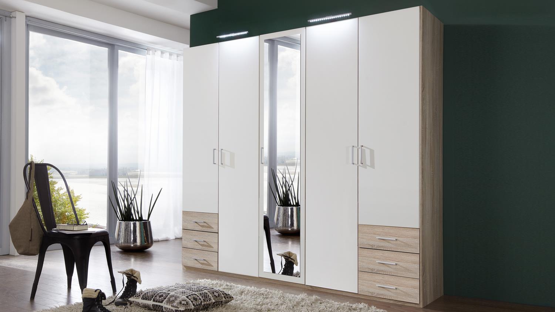 kleiderschrank f gen in alpinwei und eiche s gerau 225 cm. Black Bedroom Furniture Sets. Home Design Ideas
