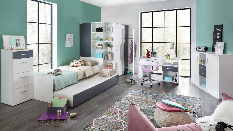 Jugendzimmer komplettset joker in alpinwei und anthrazit for Jugendzimmer komplettset