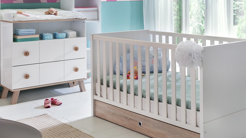 Babyzimmer Set 2 Billu Alpinweiss Und Eiche Sagerau 4 Tlg