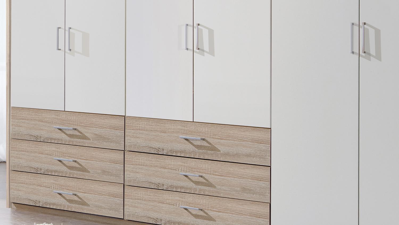 Kleiderschrank DANZIG in weiß und Eiche Sägerau 270 cm