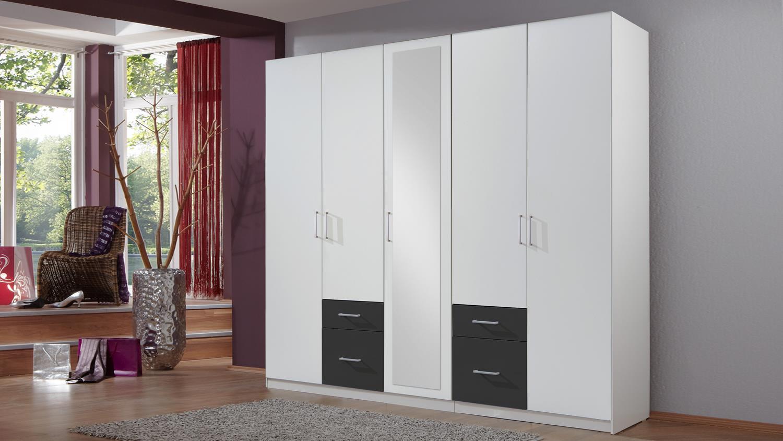 kleiderschrank freiburg in alpinwei und anthrazit 225 cm. Black Bedroom Furniture Sets. Home Design Ideas