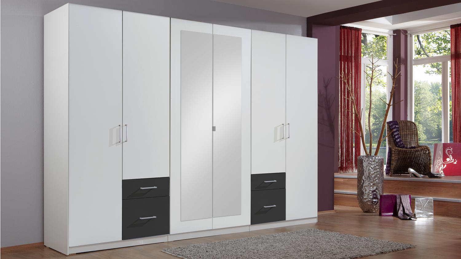 kleiderschrank freiburg in alpinwei und anthrazit 270 cm. Black Bedroom Furniture Sets. Home Design Ideas