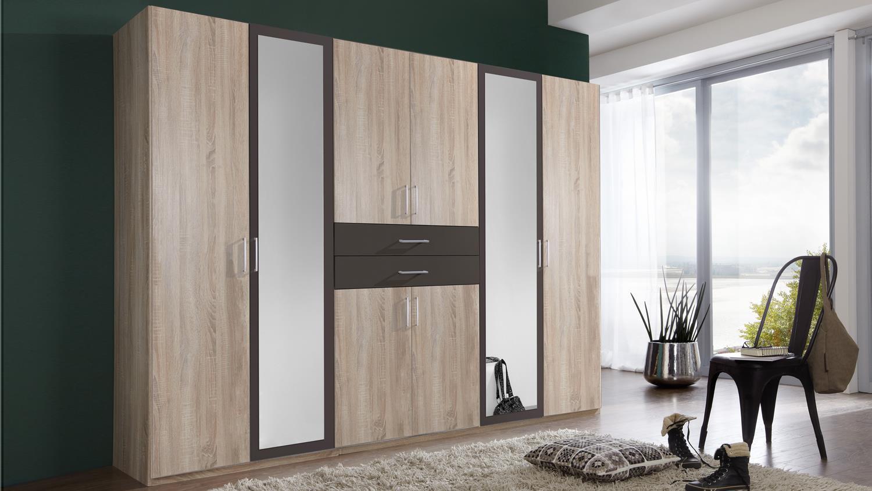 kleiderschrank diver in eiche s gerau und lava 270 cm. Black Bedroom Furniture Sets. Home Design Ideas