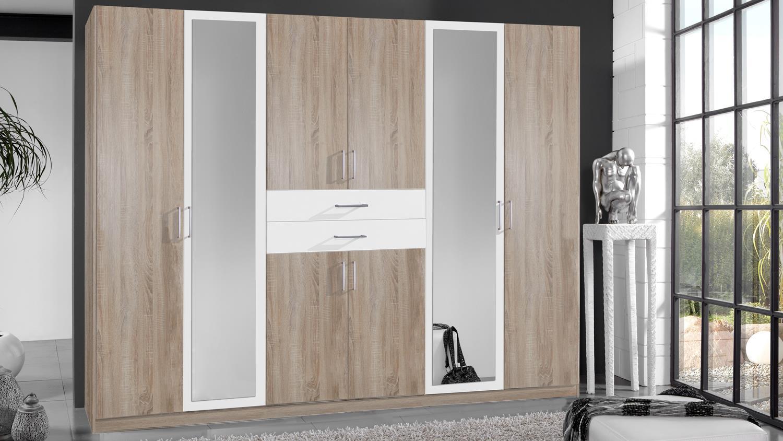 kleiderschrank diver in eiche s gerau und alpinwei 270 cm. Black Bedroom Furniture Sets. Home Design Ideas