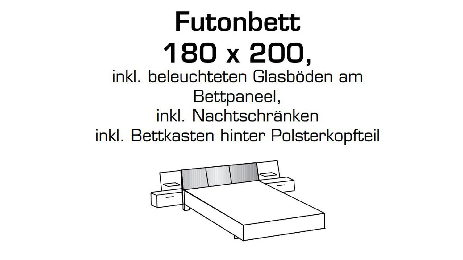 futonbett virgo bett 180x200 schlammeiche inkl led und bettkasten. Black Bedroom Furniture Sets. Home Design Ideas