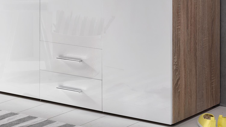 kleiderschrank malta in hochglanz lack wei und eiche s gerau 120 cm. Black Bedroom Furniture Sets. Home Design Ideas