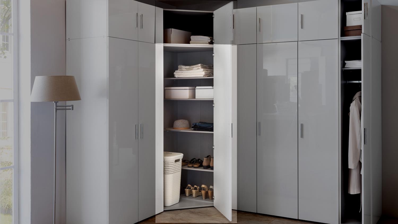 eckschrank malta in hochglanz lack wei und alpinwei. Black Bedroom Furniture Sets. Home Design Ideas