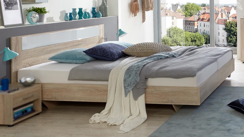 futonbett petra bettgestell eiche s gerau mit glaseinsatz wei 140x200. Black Bedroom Furniture Sets. Home Design Ideas