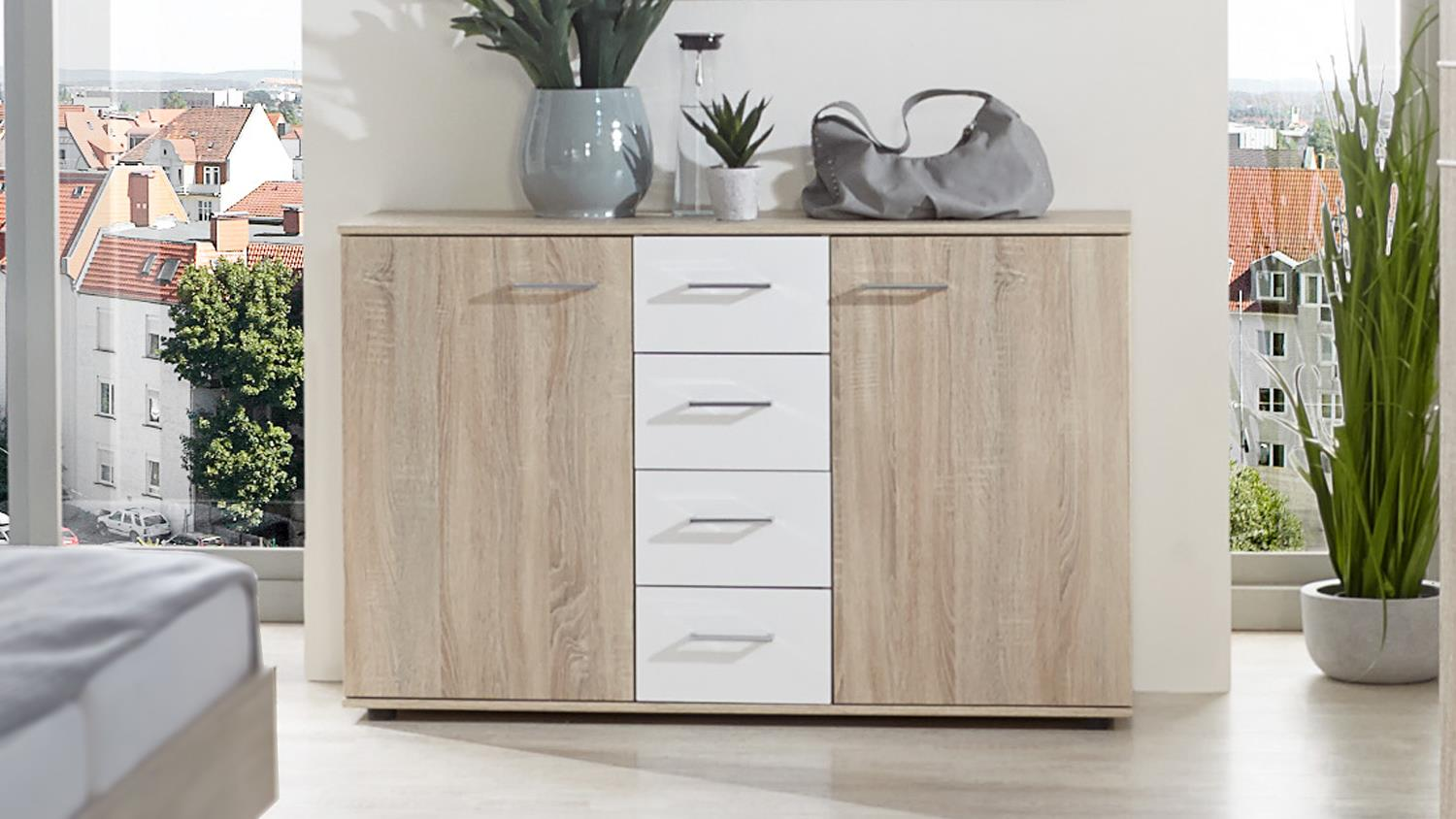 kommode petra sideboard in eiche s gerau und alpinwei. Black Bedroom Furniture Sets. Home Design Ideas