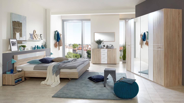 schlafzimmer set petra 6 teilig in eiche s gerau und alpinwei. Black Bedroom Furniture Sets. Home Design Ideas