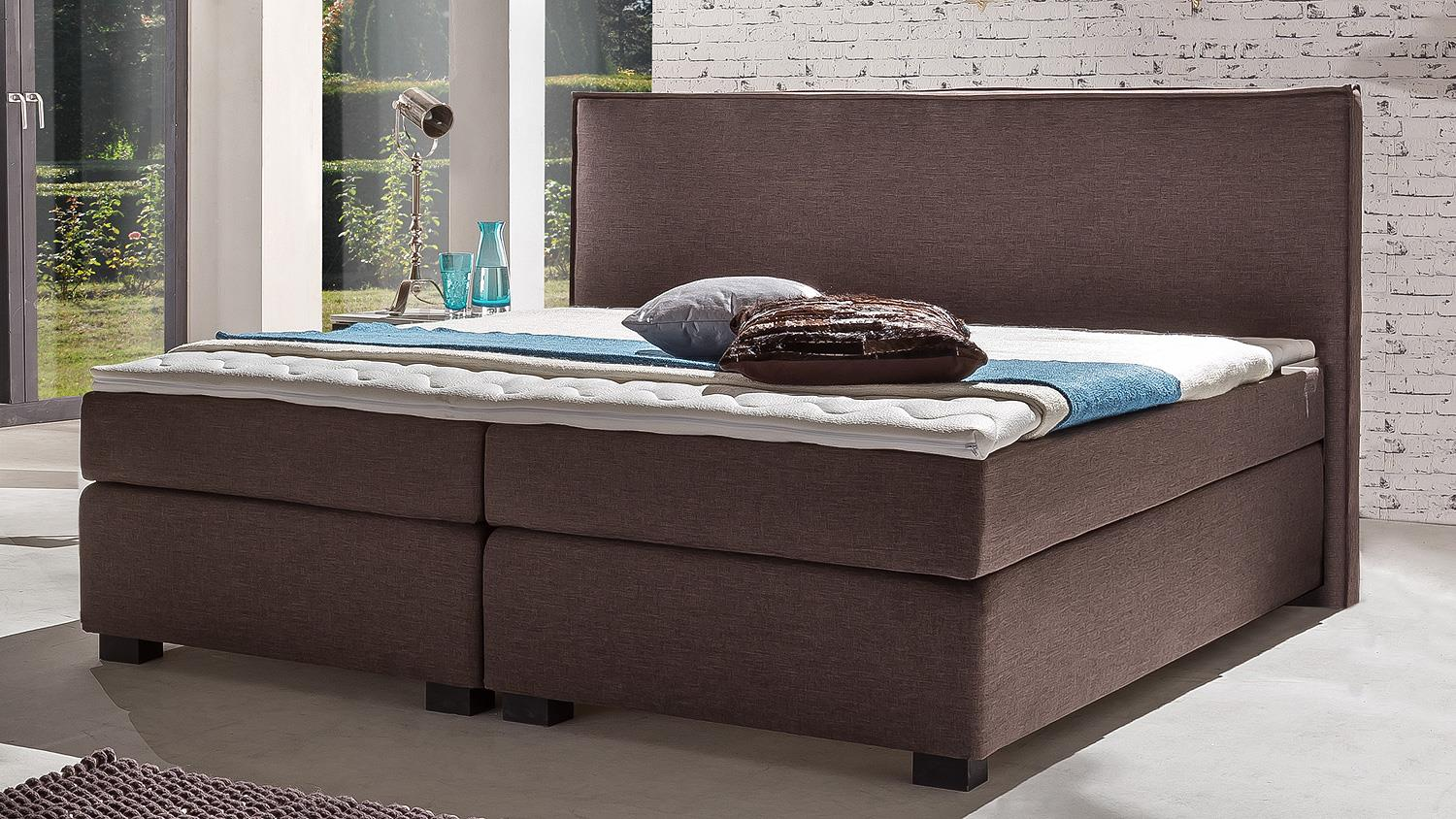 boxspringbett leonarda bett f r schlafzimmer in braun 180x200 cm. Black Bedroom Furniture Sets. Home Design Ideas