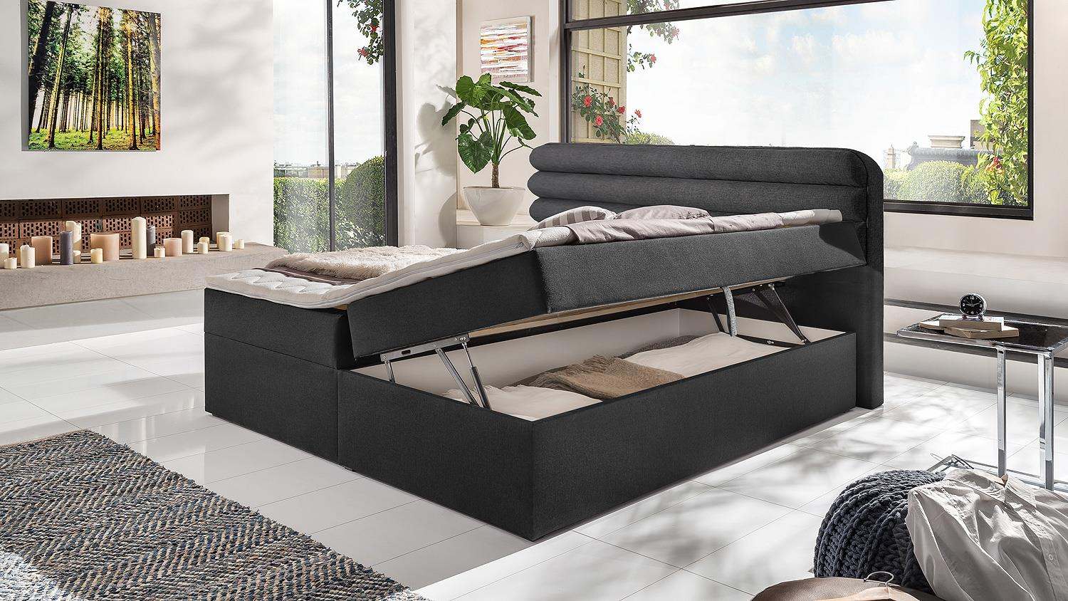 doppelbett malloca funktionsbett stauraum federkernbox mit topper. Black Bedroom Furniture Sets. Home Design Ideas