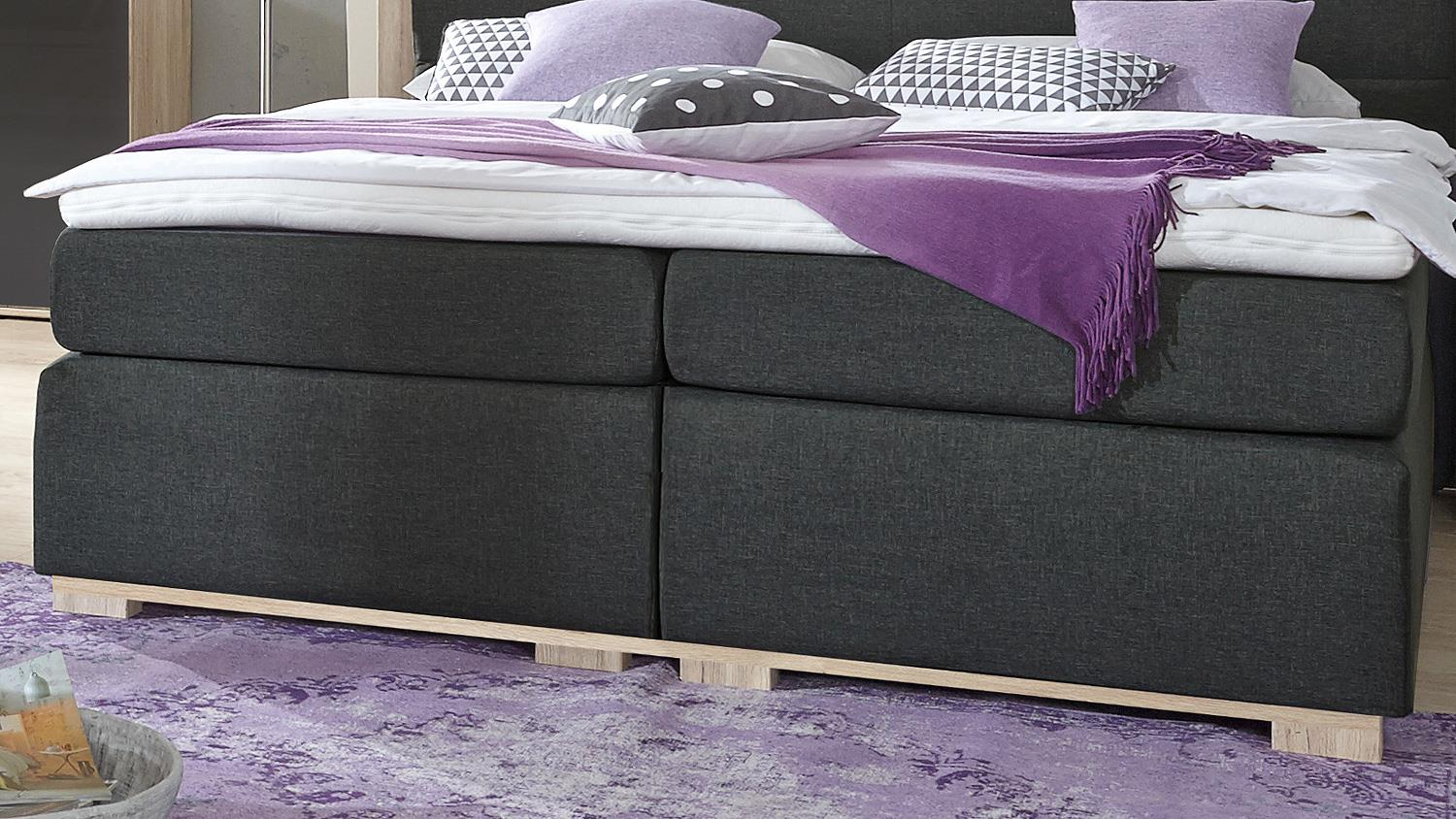 boxspringbett ohio bett f r schlafzimmer anthrazit san remo eiche 180. Black Bedroom Furniture Sets. Home Design Ideas