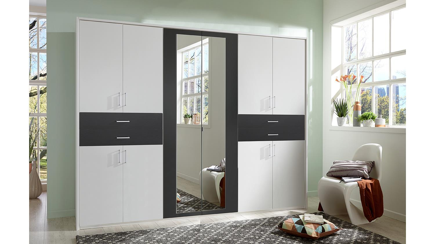 kleiderschrank taiga schrank in wei und anthrazit mit spiegel 270 cm. Black Bedroom Furniture Sets. Home Design Ideas