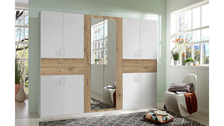 kleiderschrank taiga schrank in wei und plankeiche mit spiegel 270 cm. Black Bedroom Furniture Sets. Home Design Ideas