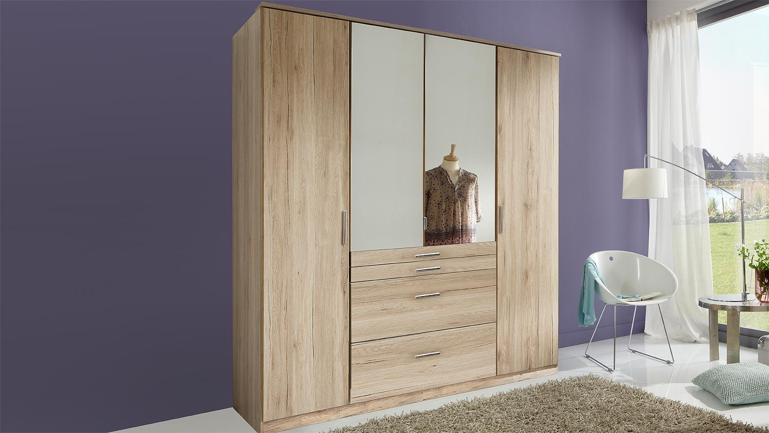 kleiderschrank aachen schrank in san remo eiche hell mit spiegel 180. Black Bedroom Furniture Sets. Home Design Ideas
