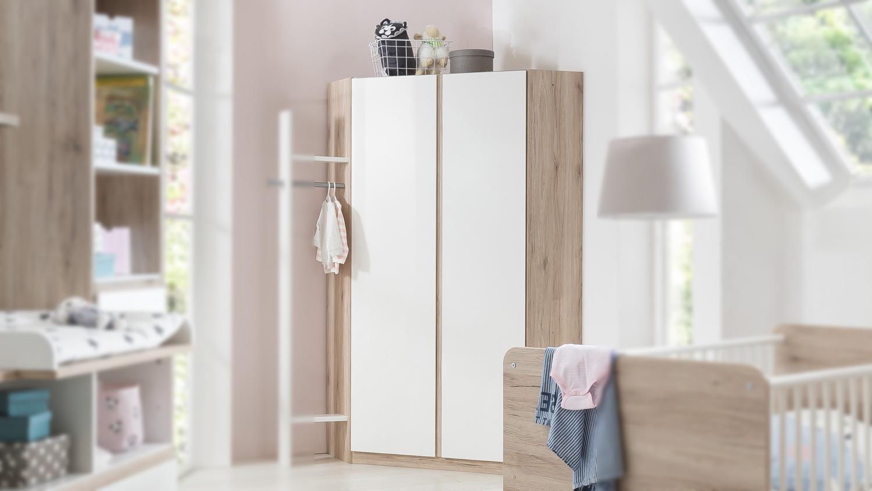 Eckschrank BIANCA Kleiderschrank Babyzimmer weiß San Remo Eiche 120 cm