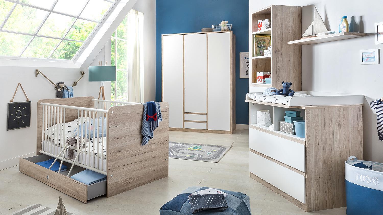 babybett bianca kinderbett babyzimmer wei und san remo eiche 70x140. Black Bedroom Furniture Sets. Home Design Ideas