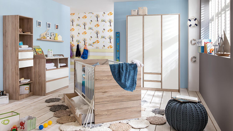 regal bianca wandregal f r babyzimmer in wei und san remo eiche. Black Bedroom Furniture Sets. Home Design Ideas