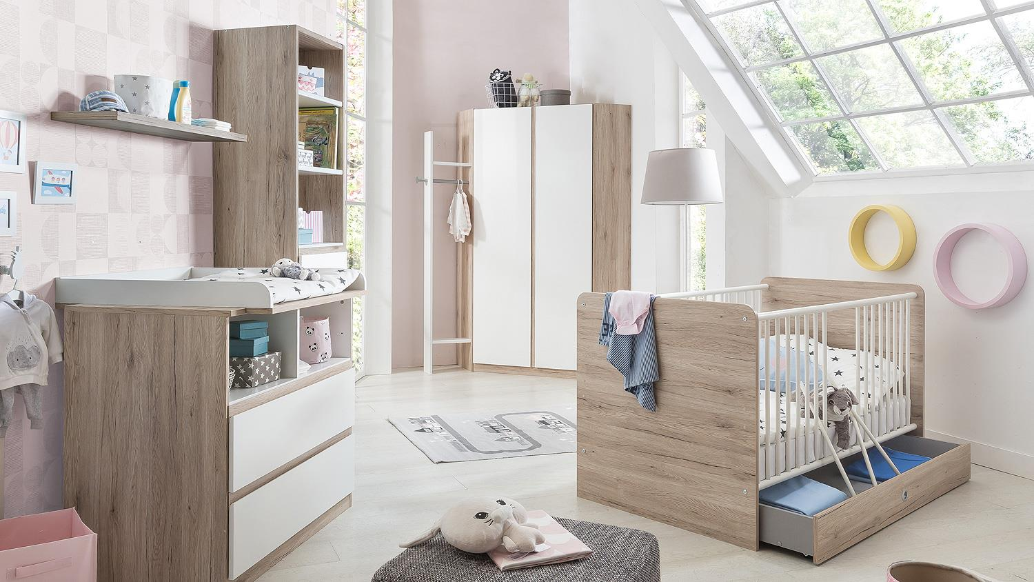 babyzimmerset bianca schrank bett wickelkommode in wei san remo eiche. Black Bedroom Furniture Sets. Home Design Ideas