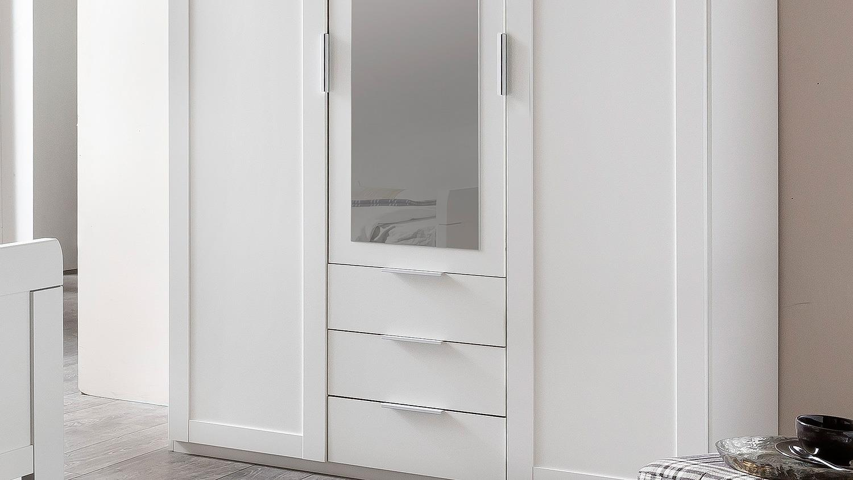 kleiderschrank nadja schrank f r schlafzimmer wei mit spiegel 135 cm. Black Bedroom Furniture Sets. Home Design Ideas