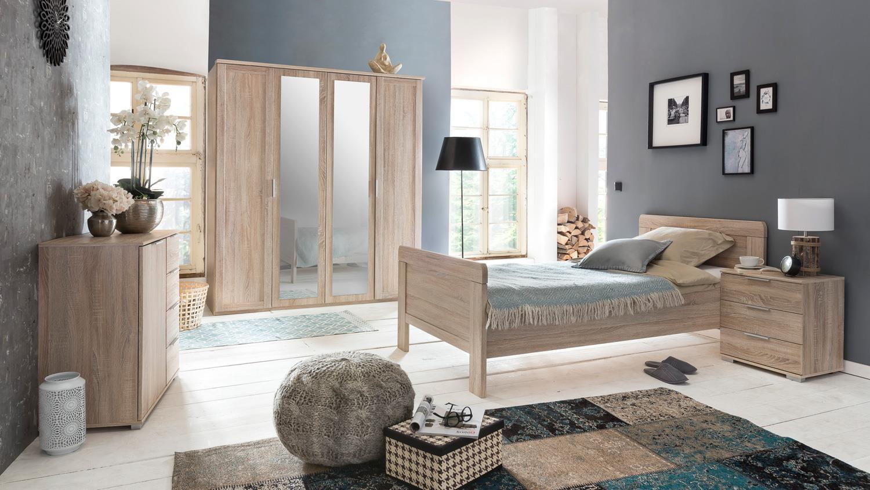 schlafzimmer set nadja kleiderschrank bett nachtkommode eiche s gerau. Black Bedroom Furniture Sets. Home Design Ideas