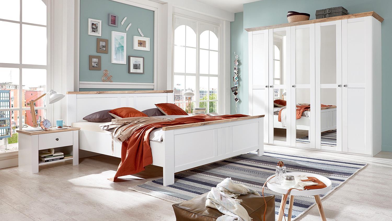 schlafzimmer set oxford schrank bett nachtkommode in wei plankeneiche. Black Bedroom Furniture Sets. Home Design Ideas