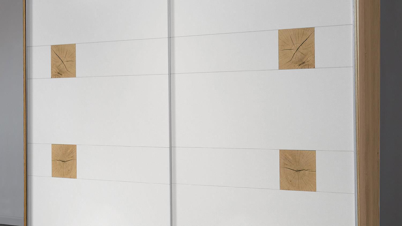 Schwebetürenschrank Vicky Kleiderschrank Weiß Plankeneiche Hirnholz