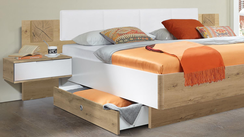 bettanlage vicky bett futonbett in wei plankeneiche hirnholz 180x200. Black Bedroom Furniture Sets. Home Design Ideas
