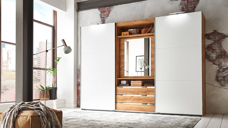 schwebet renschrank magic in plankeneiche und wei mit funktion 300 cm. Black Bedroom Furniture Sets. Home Design Ideas