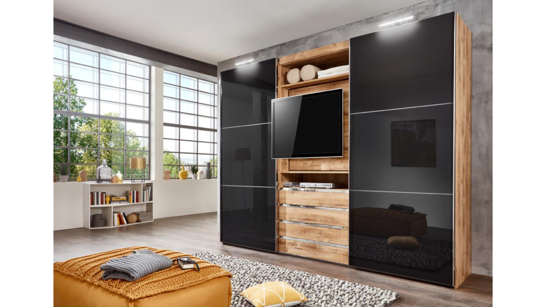Schwebetürenschrank MAGIC Plankeneiche Glas Grau Mit TV Funktion 300