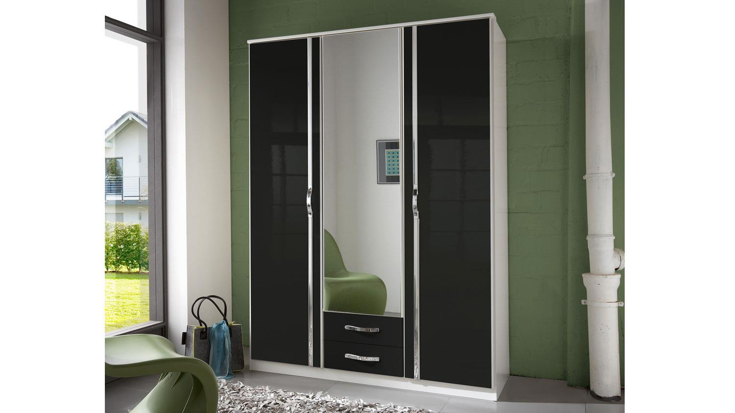 kleiderschrank trio schrank in schwarz hochglanz wei chrom 135 cm. Black Bedroom Furniture Sets. Home Design Ideas