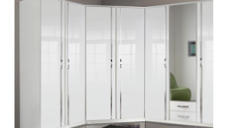eckschrank trio schrank in wei hochglanz mit chrom. Black Bedroom Furniture Sets. Home Design Ideas
