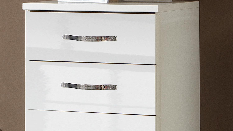hochkommode trio kommode in wei hochglanz mit chrom. Black Bedroom Furniture Sets. Home Design Ideas