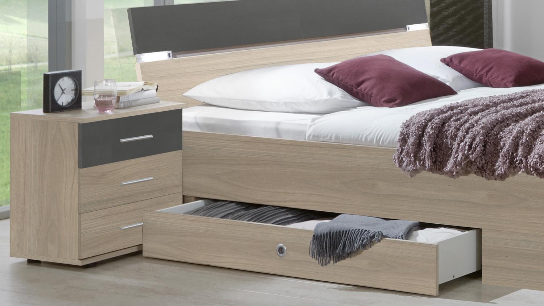 Bettanlage Xanten Doppelbett Mit Nachtkommoden In Eiche Anthrazit