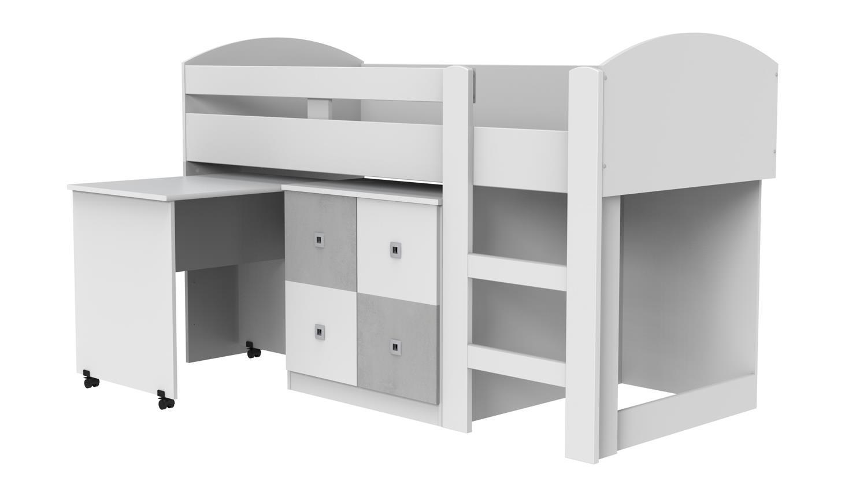hochbett joker halbhoch wei beton lichtgrau mit schreibtisch. Black Bedroom Furniture Sets. Home Design Ideas