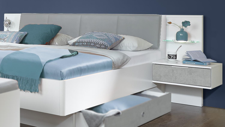 Futonbett VIRGO Bett weiß Beton lichtgrau mit LED und Nachtschränke